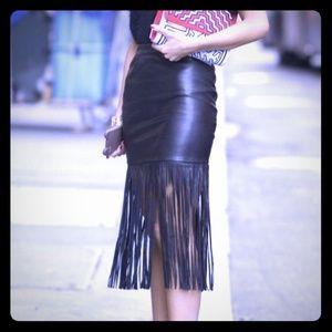NWT Chelsea & Theodore Black Fringe-Black Skirt